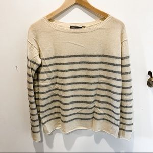 Vince wool/cashmere grey and cream striped sweater
